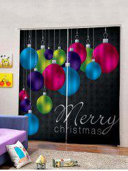 2 Panels Christmas Colorful Balls Pattern Window Curtains -
