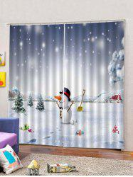 Christmas Happy Snowman and House  2PCS Window Curtains -