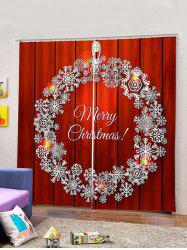 2 Panels Christmas Wreath Print Window Curtains -