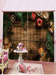 2PCS Wooden Floor and Cookie Pattern Window Curtains -