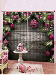 2PCS Wood and Christmas Ball Printed Window Curtains -