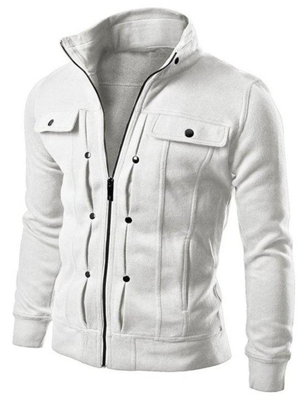 Latest Slim Solid Color Pocket Men Jacket