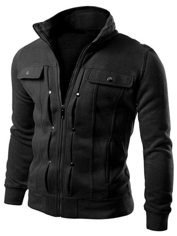 Hot Slim Solid Color Pocket Men Jacket