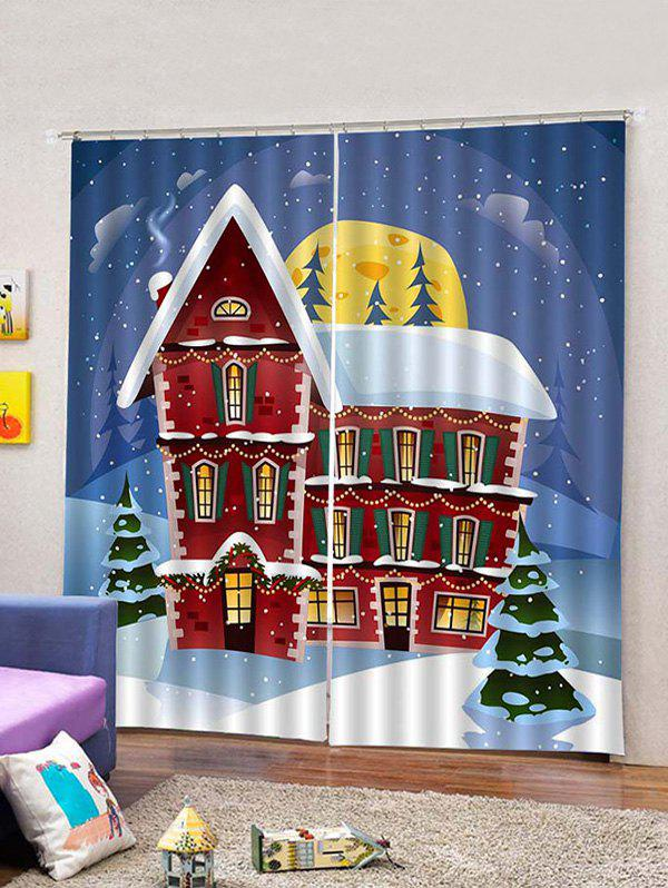 Online 2 Panels Christmas House Print Window Curtains