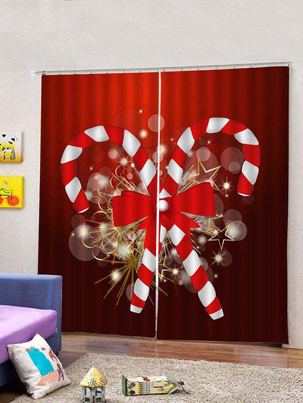 Store 2 Panels Christmas Candy Cane Bowknot Print Window Curtains