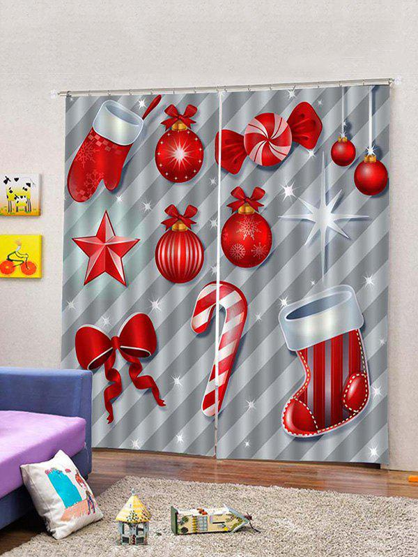 Fancy 2 Panels Christmas Props Print Window Curtains