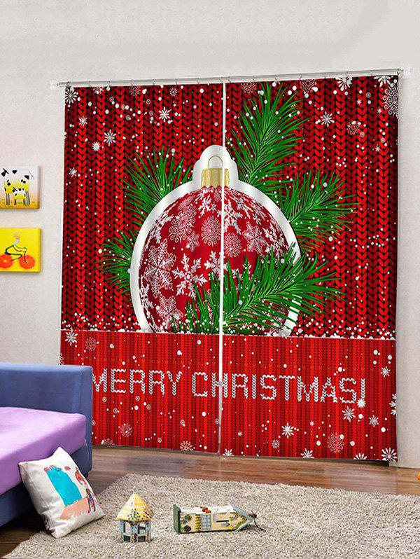 Affordable 2 Panels Merry Christmas Ball Print Window Curtains