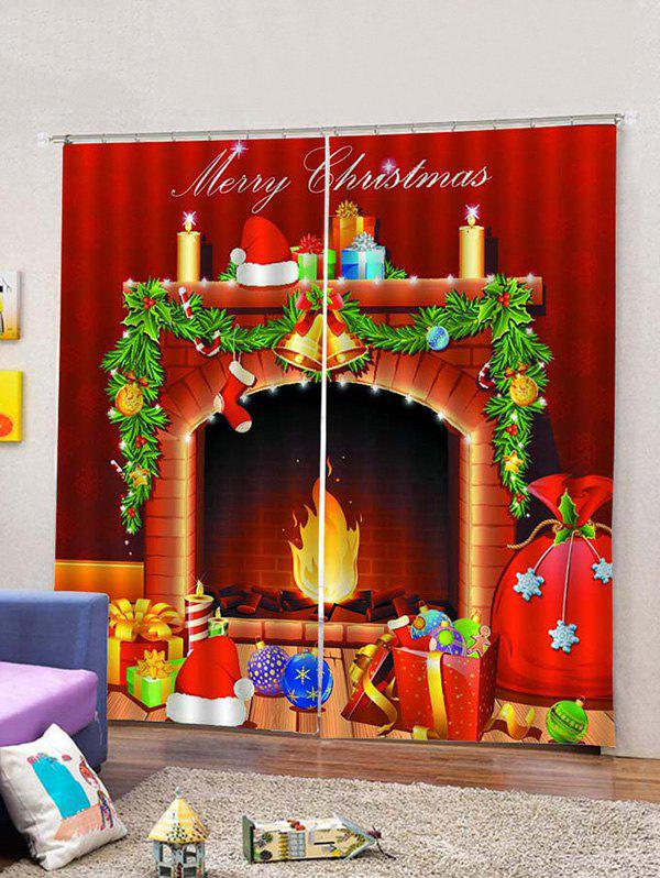 Latest 2 Panels Christmas Fireplace Print Window Curtains