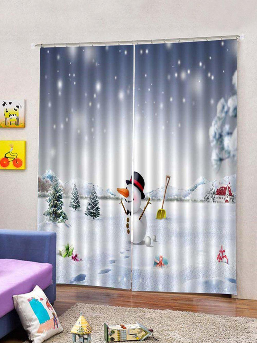 Chic 2 Panels Christmas Snowman Snowfield Print Window Curtains