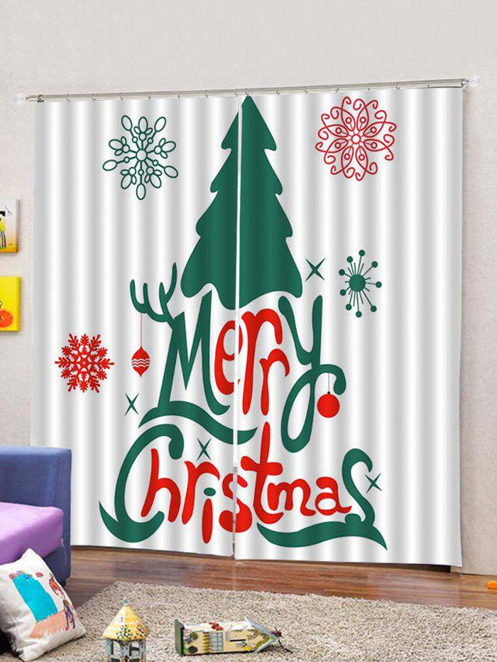 Christmas Letter And Tree Printed 2pcs Window Curtains W33 5 X L79 Inch