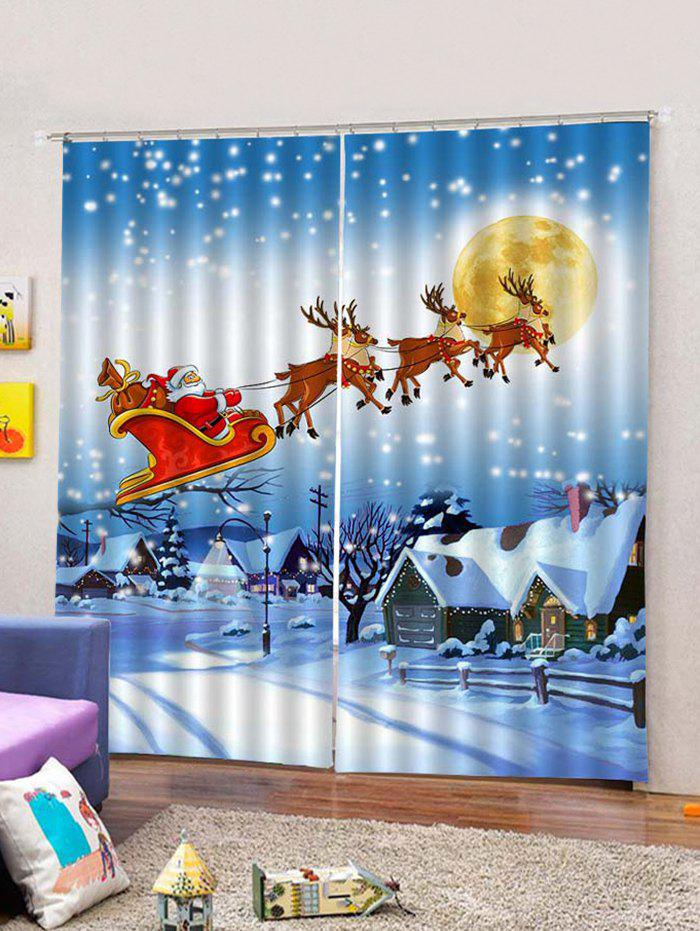 Outfits Christmas Flying Santa and Deer Printed 2PCS Window Curtains
