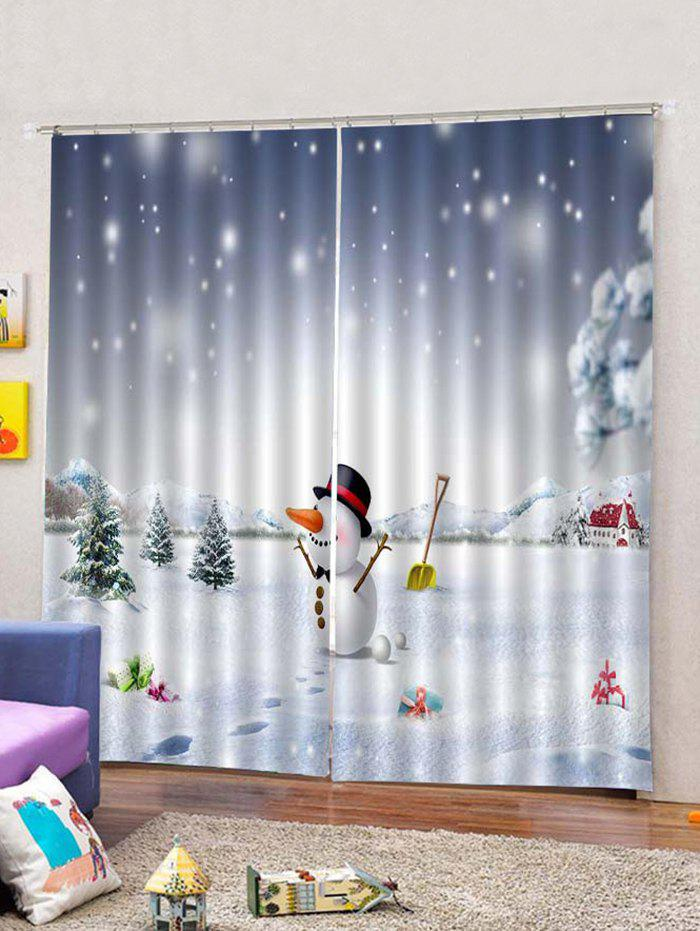 Shops Christmas Happy Snowman and House  2PCS Window Curtains