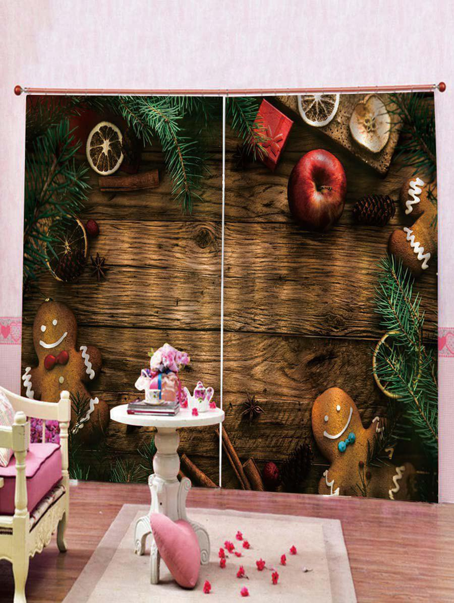 Discount 2PCS Wooden Floor and Cookie Pattern Window Curtains