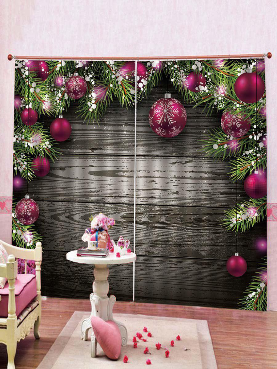 Sale 2PCS Wood and Christmas Ball Printed Window Curtains