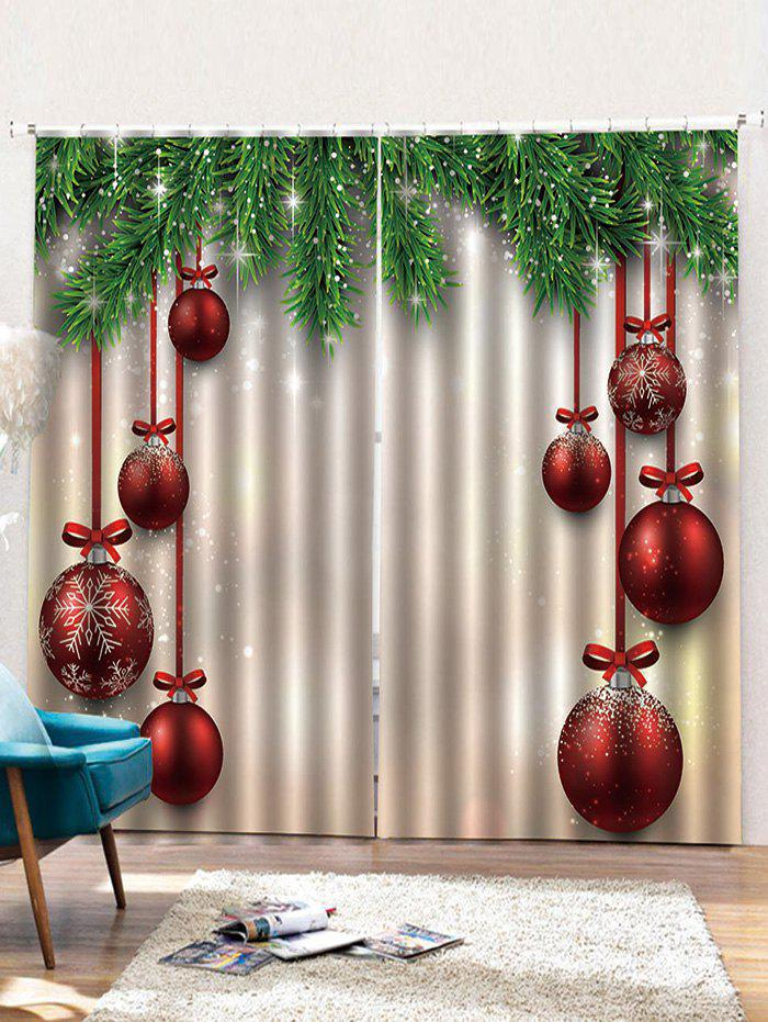Chic Red Christmas Ball Pattern 2PCS Window Curtains