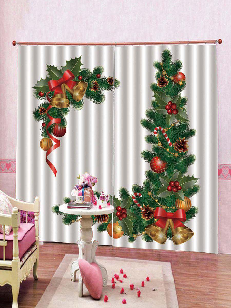 Online 2PCS Christmas Bell Pattern Window Curtains