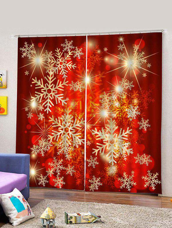 Online 2PCS Red Snowflake Printed Window Curtains