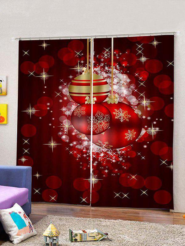 Cheap 2PCS Christmas Spots and Ball Printed Window Curtains