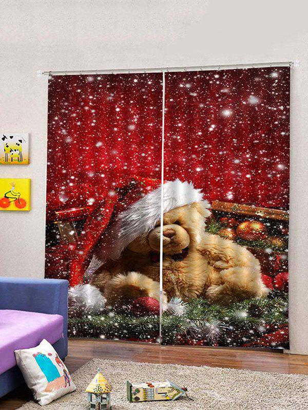 Best Christmas Bear Pattern 2PCS Window Curtains