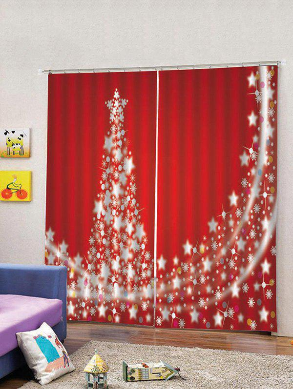 Best 2PCS Christmas Stars Tree Printed Window Curtains