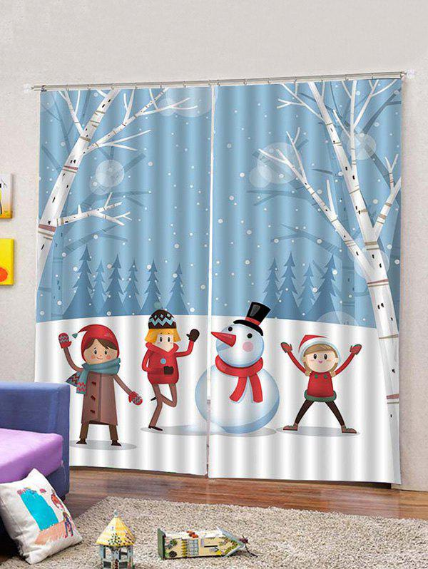 Hot 2PCS Snowman Christmas Pattern Window Curtains
