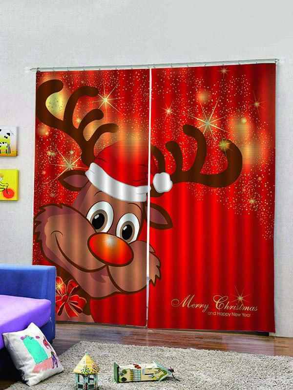 Outfit 2PCS Merry Christmas Deer Window Curtains