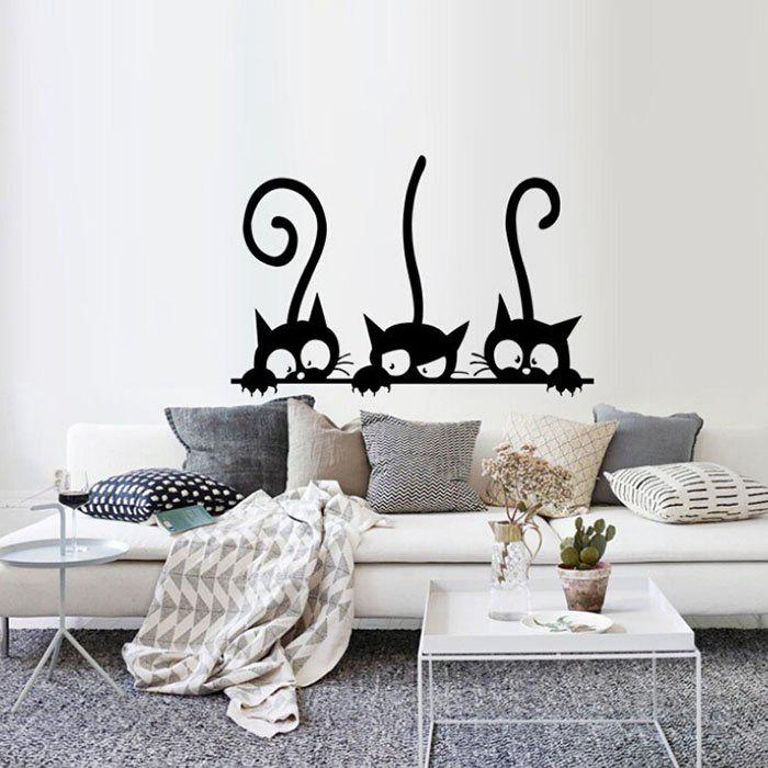 Excellent Cute Three Funny Cats Living Room Bedroom Childrens Room Wall Sticker Home Interior And Landscaping Ologienasavecom