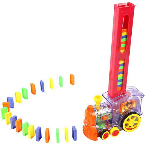 Shops Domino Car Electric Locomotive Automatic Emission Dominoes With Sound And Light Children Educational Toys
