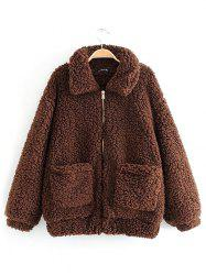 Women Comfortable Warm Coat Loose Turn-down Collar -