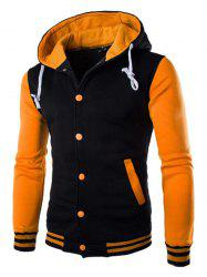 Fashion Men's Casual Hooded Stitching Cotton Cardigan Coat -