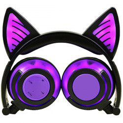 LX - BBL108 Cat Ear Bluetooth Headphones Foldable Wireless Headset with LED Light and Microphone -