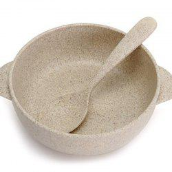 DIHE CF0273 Nordic Minimally Degradable Wheat Straw Bowl and Spoon Set -