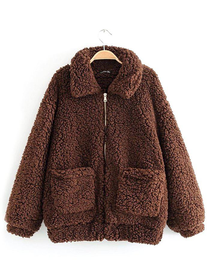 Discount Women Comfortable Warm Coat Loose Turn-down Collar
