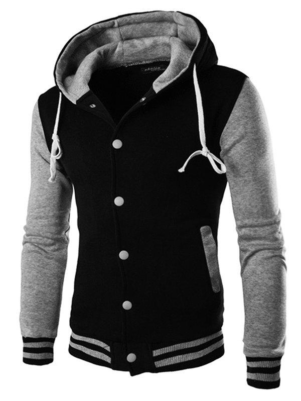Discount Fashion Men's Casual Hooded Stitching Cotton Cardigan Coat
