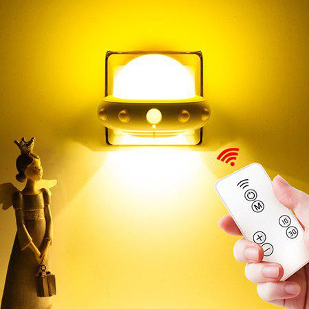 Chic 220V Plug-in Remote Control Creative Human Body Induction Lamp Flying Saucer Night Light