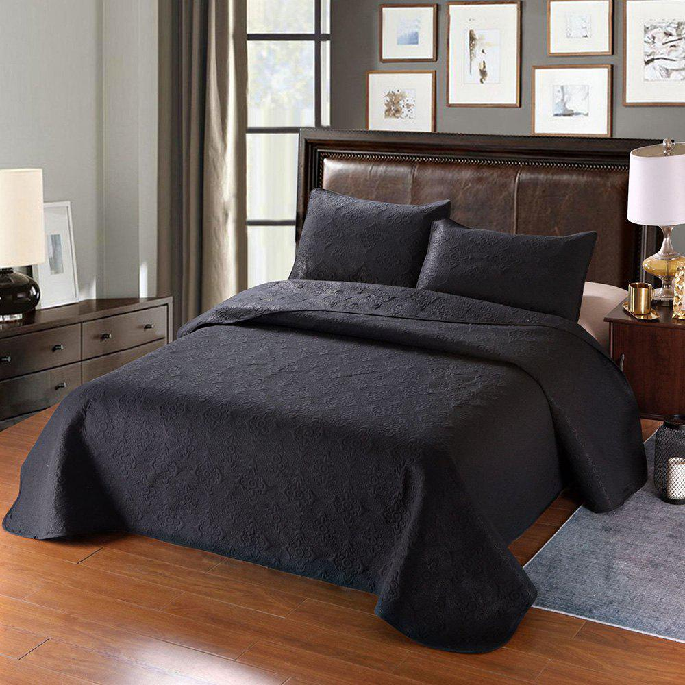 Outfit Simple Plain Style Three-piece Solid Color Bedding Set for Home Hotel