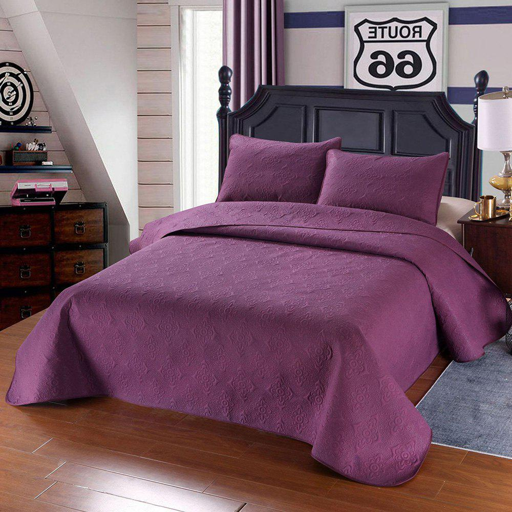 Store Simple Plain Style Three-piece Solid Color Bedding Set for Home Hotel