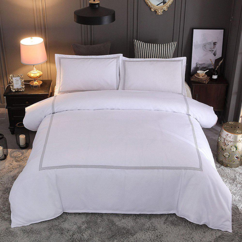 Discount Solid Color Quilt Cover Pillowcase Set Embroidery Home Textile Hotel Bedding 3pcs