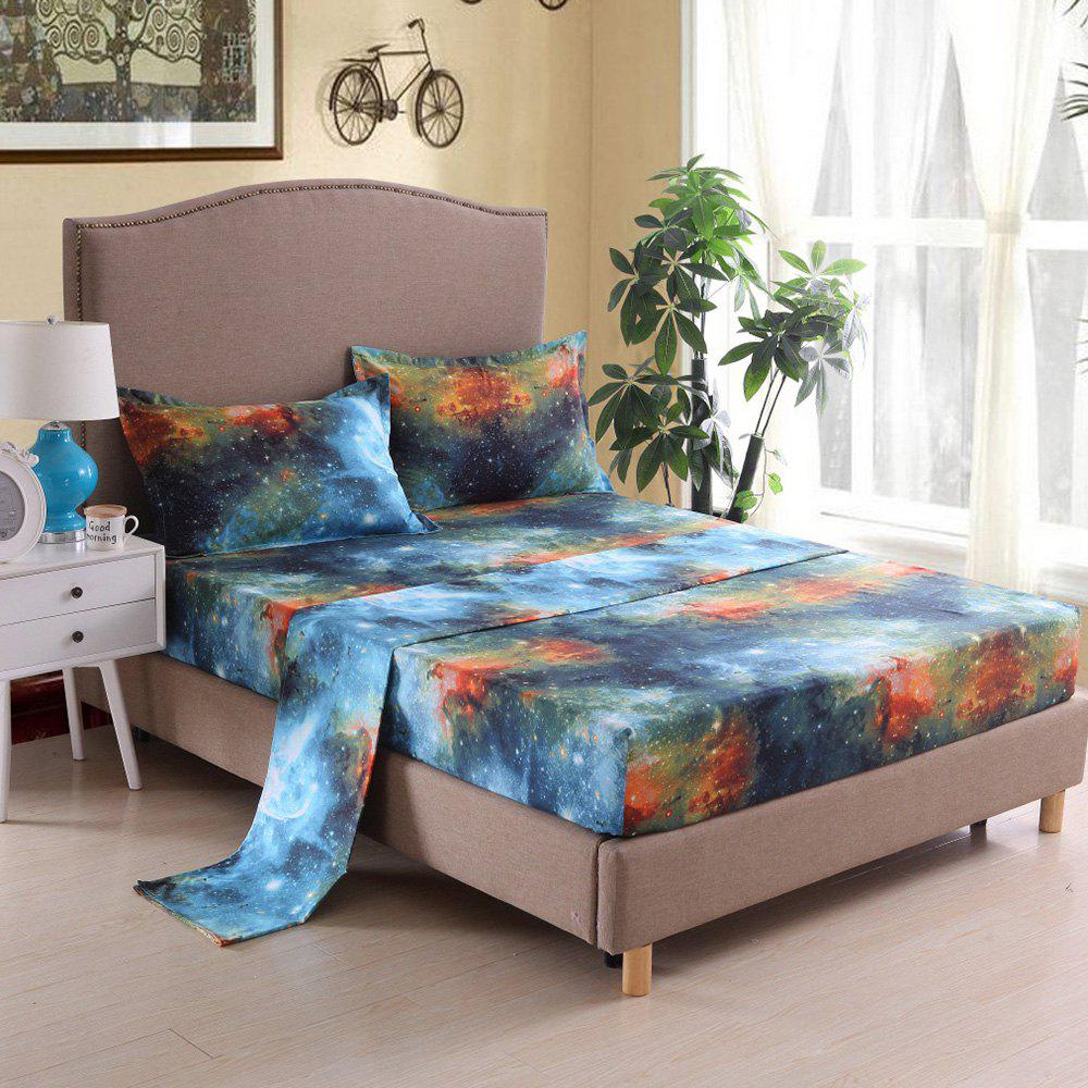 Store Home Textile Pillowcase Quilt Bed Linen 3D Star Series Nebula Sheet 4pcs
