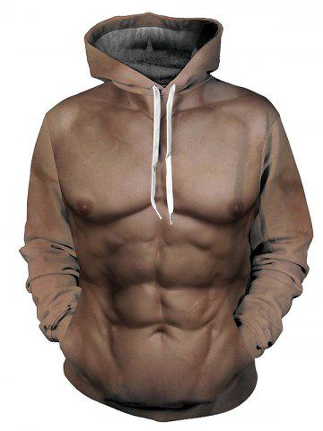 Europe And The United States Sexy Nightclub Abdominal Muscle 3D Printing Men Large Size Loose Muscle Hooded Sweater