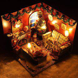 Wooden Dollhouse Furniture Kits LED Light DIY Puzzle Toy -