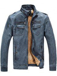 Men Fashionable Stand Collar Short Pile Leather Jacket -