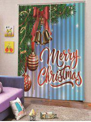 Christmas Balloon Bell Print 2PCS Window Curtains -
