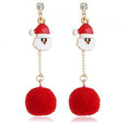 Red Hair Ball Long Tassel Earrings -