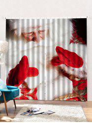 2PCS Father Christmas Print Window Curtains -