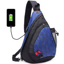DINGXINYIZU Canvas Men USB Charging Camouflage Chest Bag -