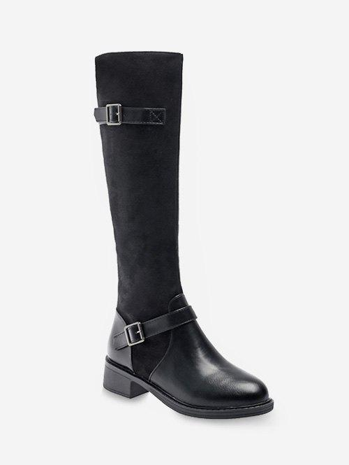 Latest Two Buckle Knee High Boots