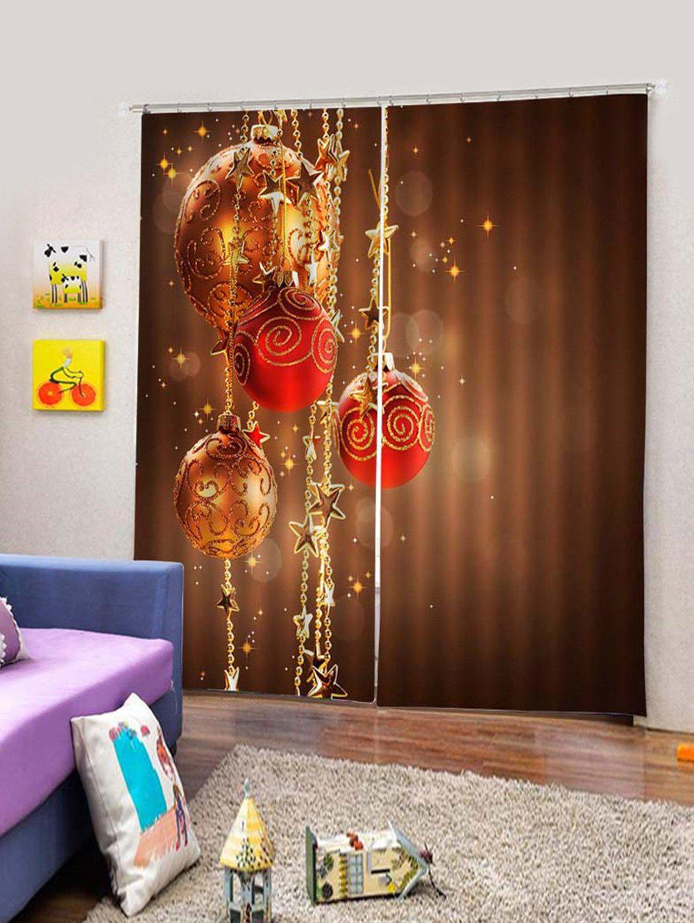 Chic 2PCS Christmas Star Ball Window Curtains