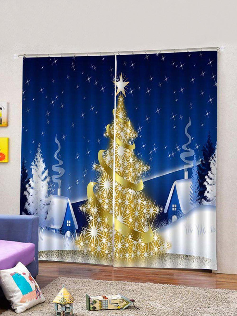 Affordable 2PCS Christmas Tree Star Window Curtains