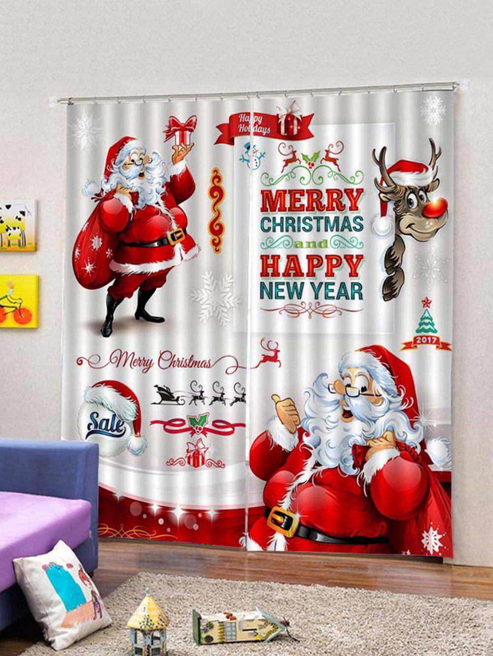 2018 2pcs Father Christmas Gift Printed Window Curtains | Rosegal.com
